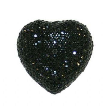 1piece x 12mm*12mm*4mm Diamond acrylic flat back black colour -- heart shape -- DAFB-H012-002